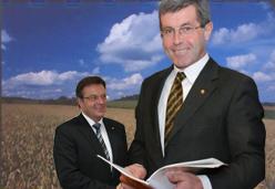 Landeshauptmann Platter und sein Stellvertreter Steixner