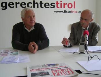 Fritz Dinkhauser und Andreas Brugger bei einer Pressekonferenz
