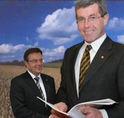 Landeshauptmann Günther Platter und sein Stellvertreter Steixner