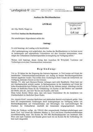 Antrag der Tiroler Volkspartei