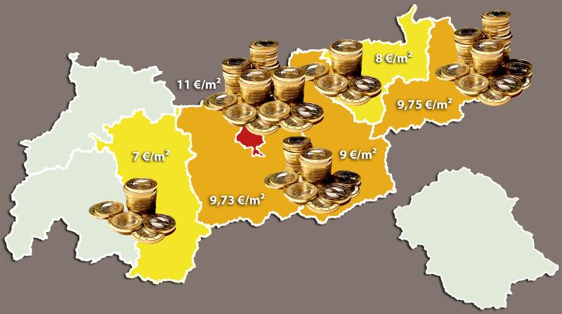 Landkarte Wohnkosten in Tirol
