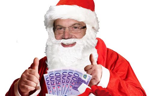 Weihnachtshauptmann Platter beim Geldverteilen