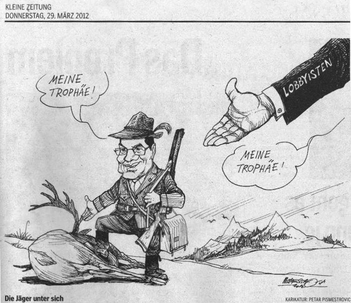 Kleine Zeitung Karikatur zu Platters Jagdeinladungen