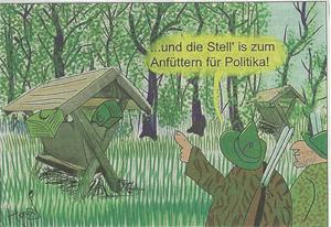 Kronen Zeitung Karikatur zu Platters Jagdeinladungen