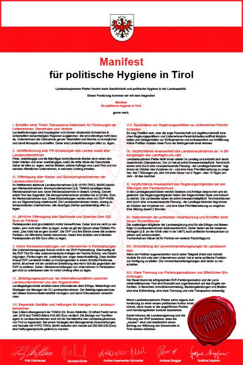Manifest für Tirol