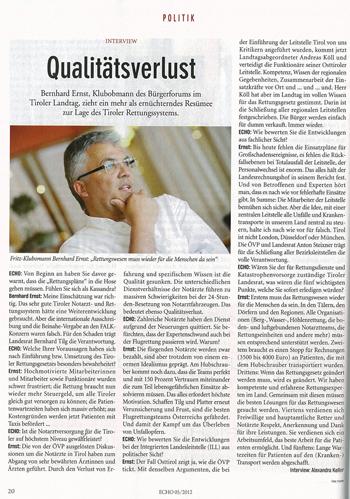 Liste Fritz Klubobmann Bernhard Ernst im Interview mit Echo