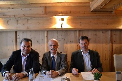 Richard Heis, Andreas Brugger und Georg Willi bei einer Pressekonferenz