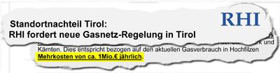 Rechnungshofbericht zur zweiten Gasleitung für Tirol