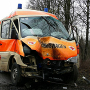 Ein zerstörter Rettungswagen