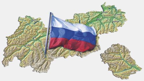 Die russländische Flagge auf der Landkarte Tirols