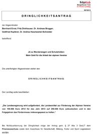 Dringlichkeitsantrag der Liste Fritz zu alpinen Vereinen in Tirol