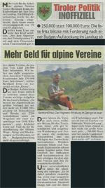 Bericht der Kronen Zeitung zu alpinen Vereinen in Tirol