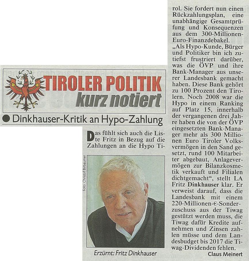 Bericht der Kronen Zeitung zur Hypo-Rettung