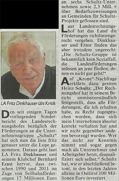 Bericht der Kronen Zeitung zur Verschultzung Tirols