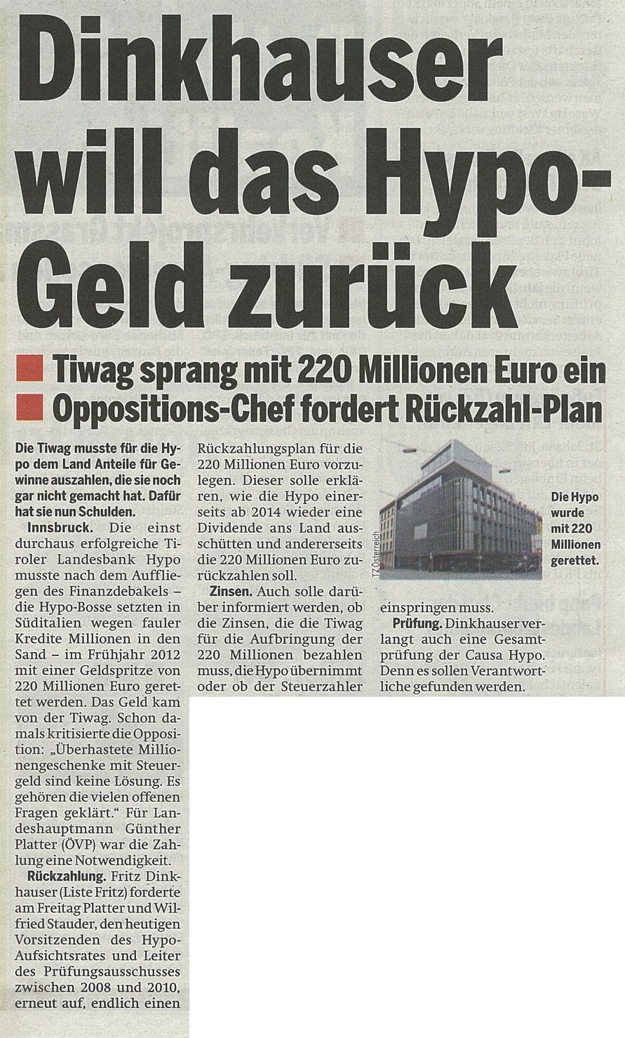 Bericht der Tageszeitung Österreich zur Hypo-Rettung