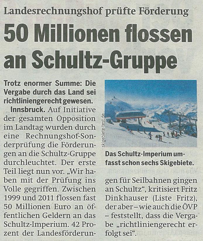 Bericht der Tageszeitung Österreich zur Verschultzung Tirols