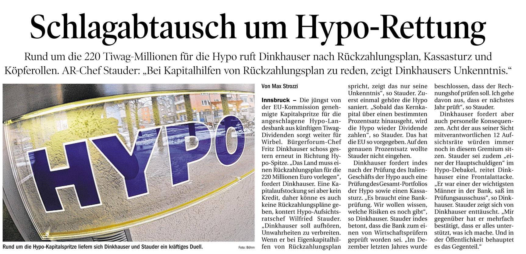 Bericht der Tiroler Tageszeitung zur Hypo-Rettung