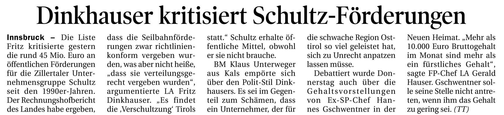 Bericht der Tiroler Tageszeitung zur Verschultzung Tirols