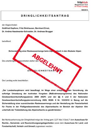 Antrag der Liste Fritz auf Restwasser für den Alpeinerbach