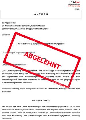 Abgelehnter Antrag der Liste Fritz zur Schlichtungsstelle