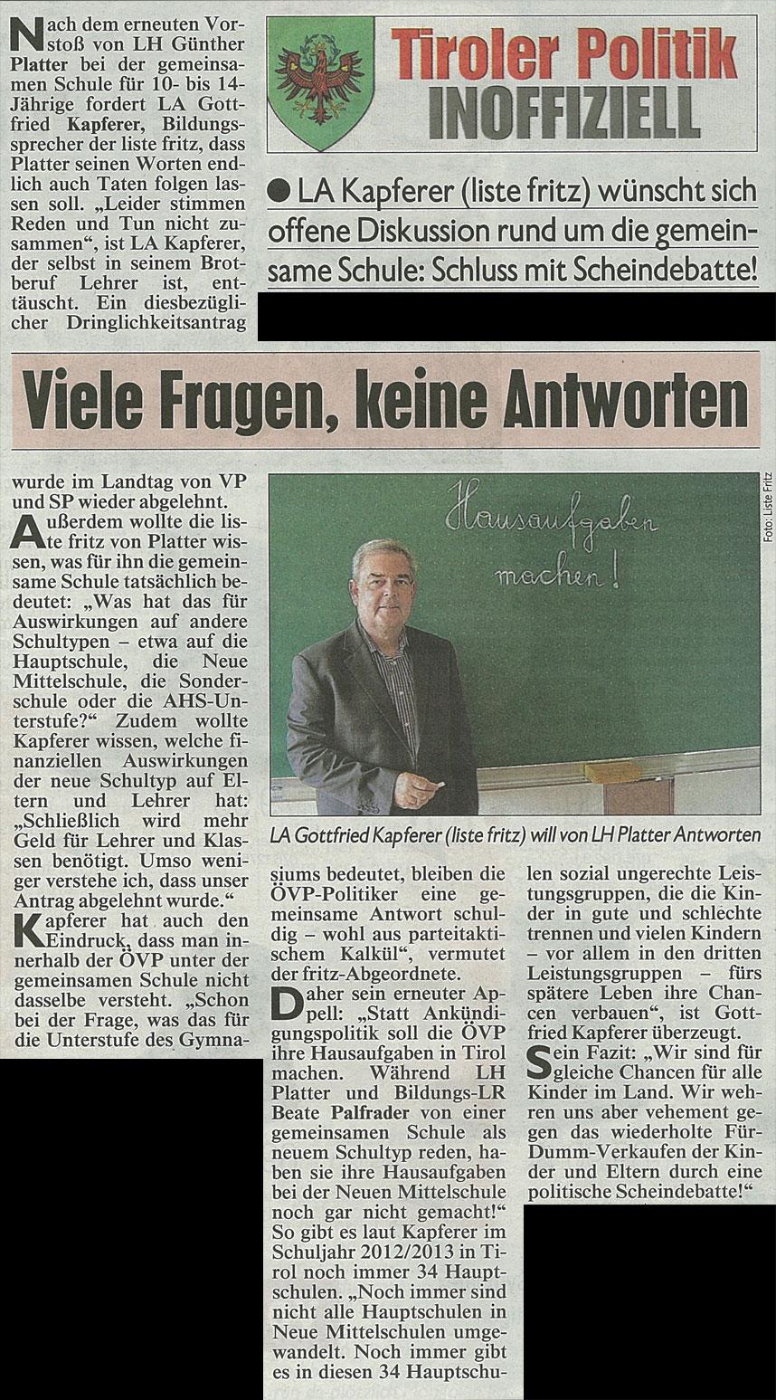 Bericht der Kronen Zeitung zur Gemeinsamen Schule