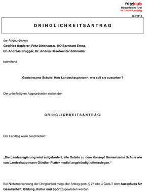 Antrag der Liste Fritz zur Gemeinsamen Schule