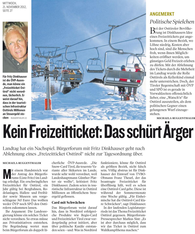 Bericht der Kleinen Zeitung zum Freizeitticket