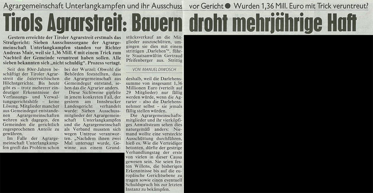 Bericht der Kronen Zeitung zum Agrarunrecht