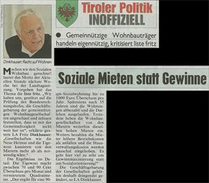 Bericht der Kronen Zeitung zum sozialen Wohnbau