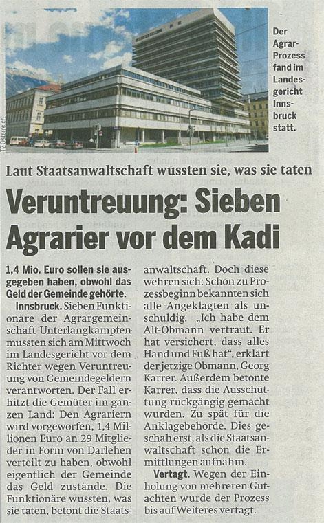 Bericht der Tageszeitung Österreich zum Agrarunrecht