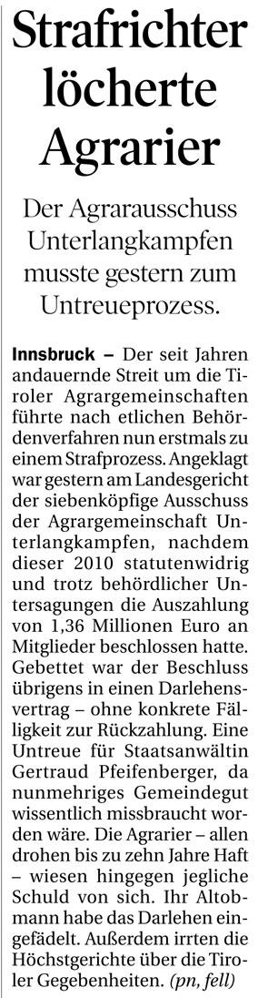 Bericht der Tiroler Tageszeitung zum Agrarunrecht