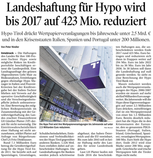 Bericht der Tiroler Tageszeitung zu Landeshaftungen der Hypo Tirol