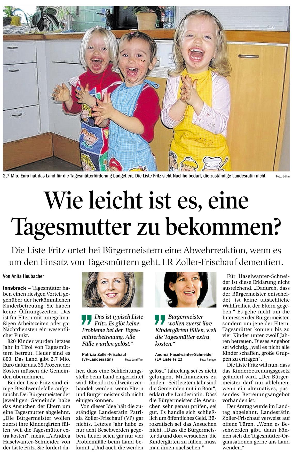 Bericht der Tiroler Tageszeitung zum Thema Tagesmütter in Tirol