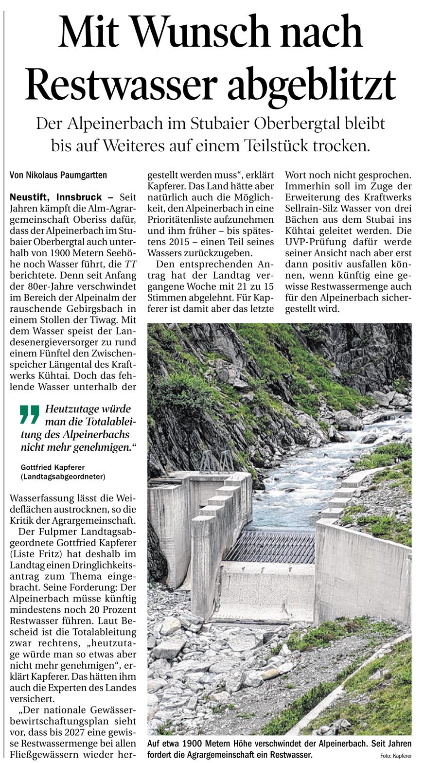Bericht der Tiroler Tageszeitung zum Alpeinerbach
