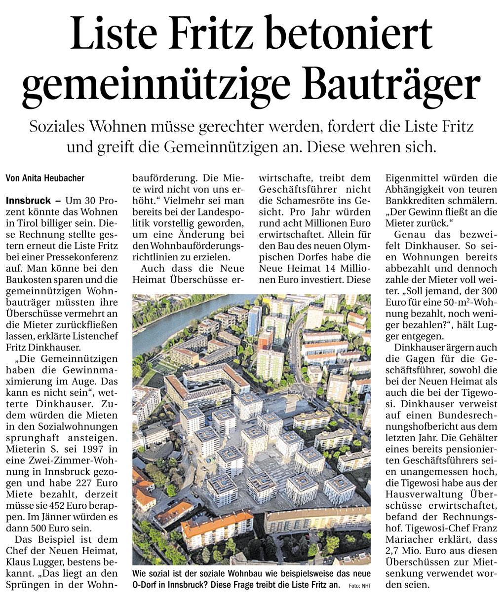 Bericht der Tiroler Tageszeitung zum sozialen Wohnbau