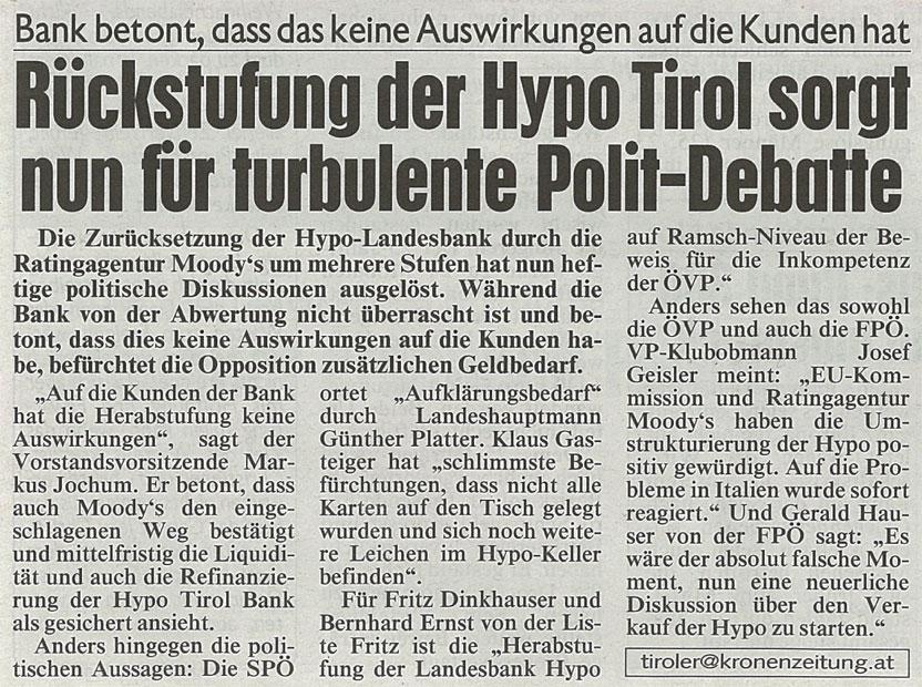 Bericht der Kronen Zeitung zur Hypo Tirol Bank