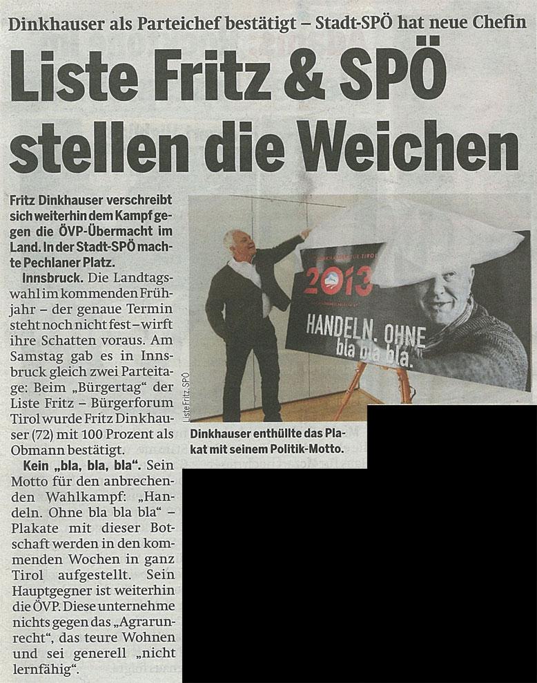 Bericht der Zeitung Österreich zum Bürgertag der Liste Fritz 2012