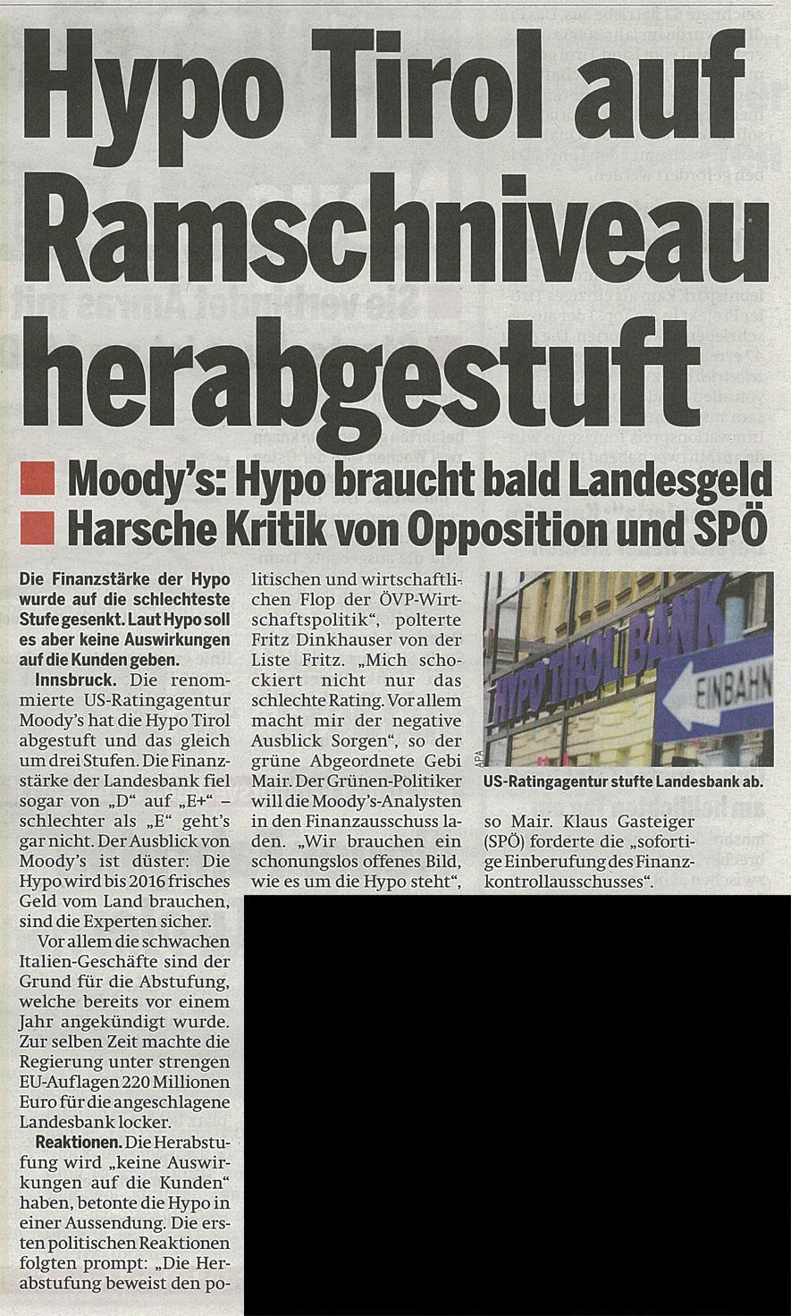 Bericht der Tageszeitung Österreich zur Hypo Tirol Bank