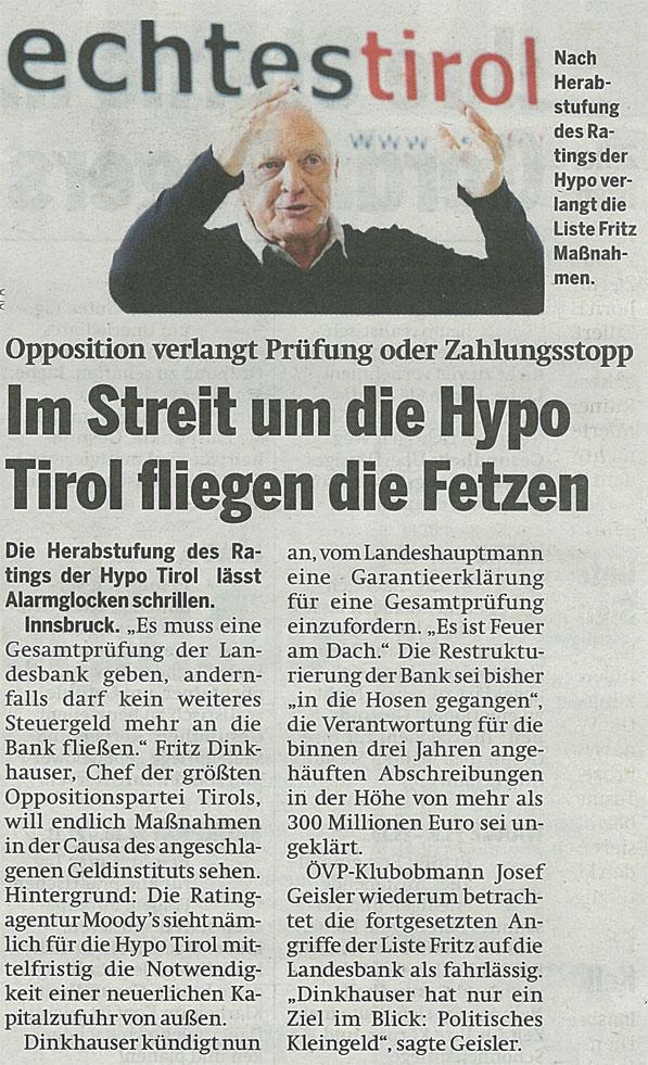 Bericht der Tageszeitung Österreich über die Hypo Tirol Bank