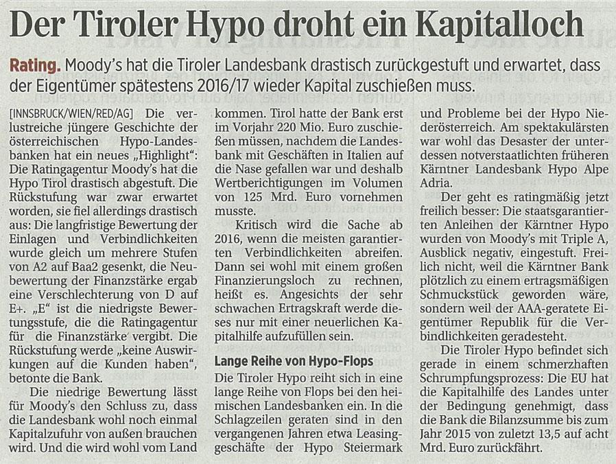 Bericht der Presse zur Hypo Tirol Bank