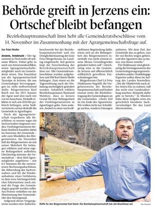 Tiroler Tageszeitung Ausschnitt zum Thema Agrar in Jerzens