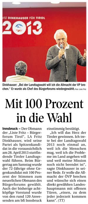 Bericht der Tiroler Tageszeitung zum Bürgertag der Liste Fritz 2012