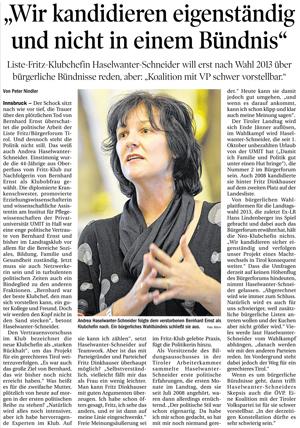 Bericht der Tiroler Tageszeitung zur Kandidatur der Liste Fritz zur Landtagswahl 2013