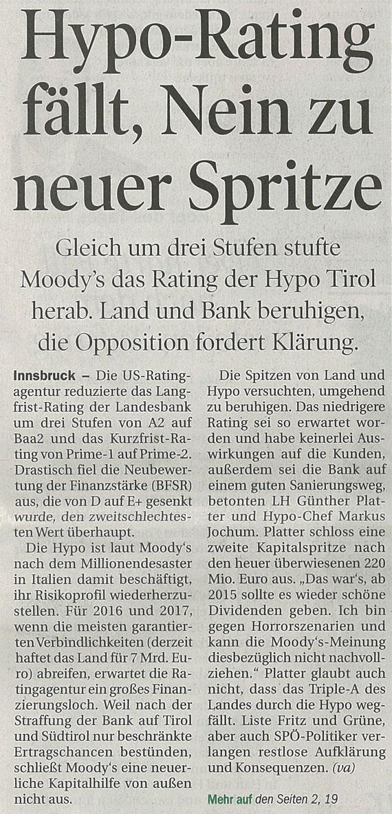 Bericht der Tiroler Tageszeitung zur Hypo Tirol Bank