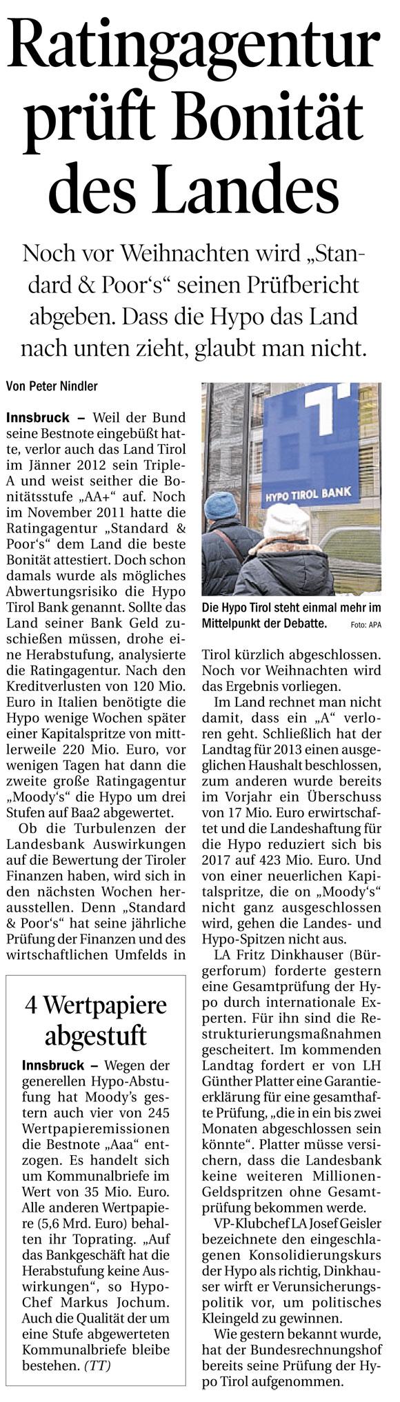 Bericht der Tiroler Tageszeitung über die Hypo Tirol Bank