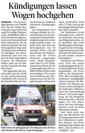 Bericht der Tiroler Tageszeitung zum Chaos bei der Rettung