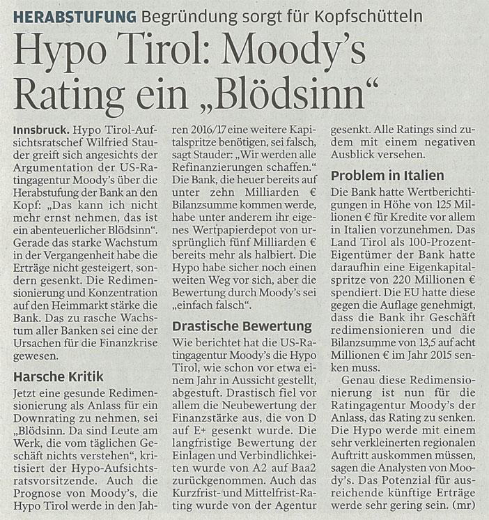 Bericht des Wirtschaftsblatts zur Hypo Tirol Bank