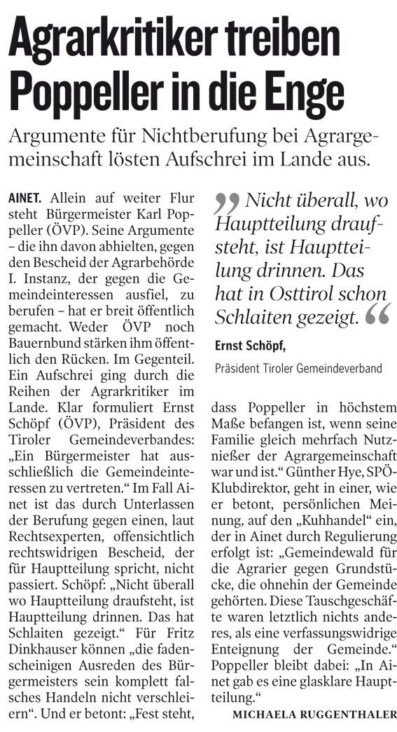 Bericht der Kleinen Zeitung zur Agrargemeinschaft Ainet
