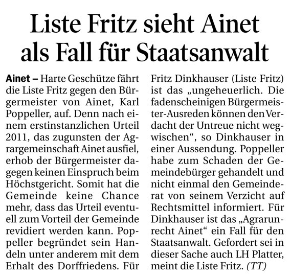 Bericht der Tiroler Tageszeitung zur Agrargemeinschaft Ainet