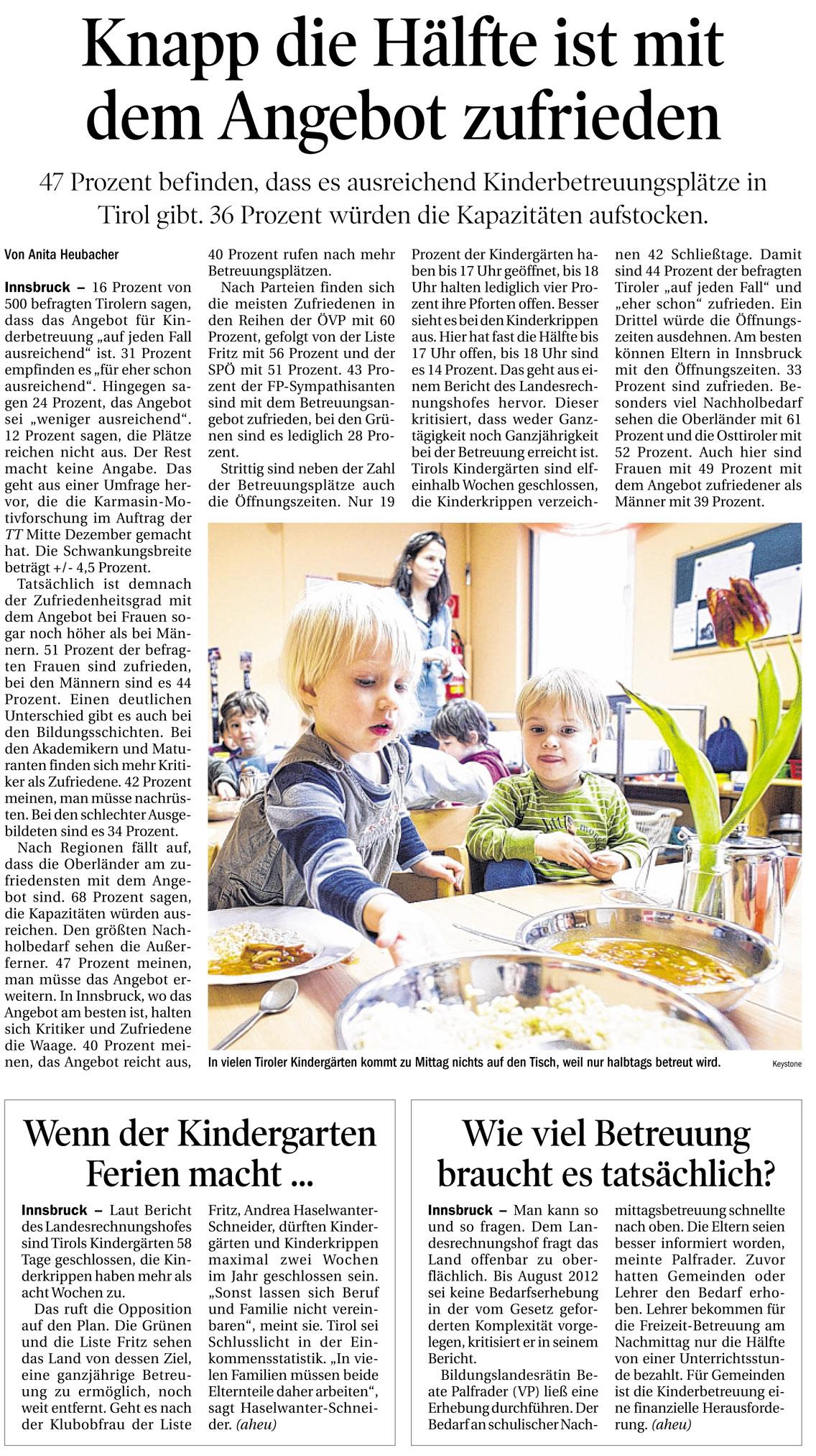 Bericht der Tiroler Tageszeitung zur Kinderbetreuung in Tirol